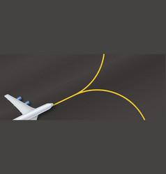 silver airplane above on background asphalt vector image