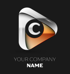 silver letter c logo in golden-silver triangle vector image