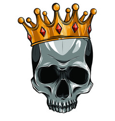 skull in crown with beard isolated vector image