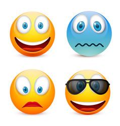 Smiley with blue eyesemoticon set yellow face vector