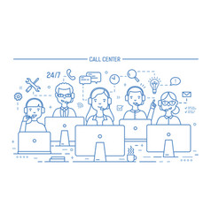 Smiling online advisors wearing headphones with vector