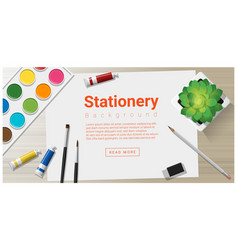 Stationery background with school supplies vector