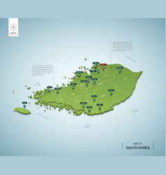 Stylized map south korea isometric 3d green vector