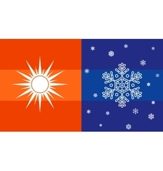 Sun and snowflake climate symbol vector image