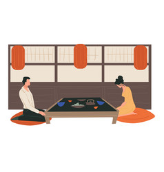 traditional japanese tea ceremony man and woman vector image