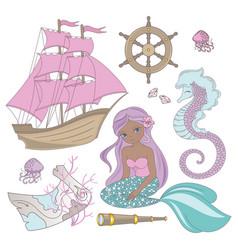 travel mermaid girl princess cartoon sea ocean vector image