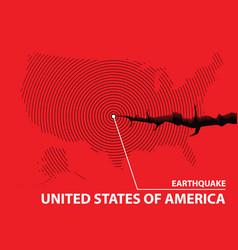 Usa earthquake concept on cracked map vector