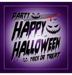 Vintage Happy Halloween Typographical purple vector