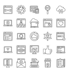 Web design line icons pack vector