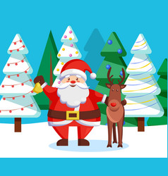 winter holidays characters santa and reindeer vector image