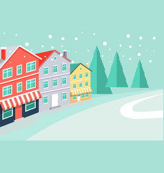 winter landscape with buildings that have market vector image