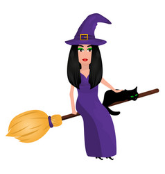 Witch with a cat on a broomstick for halloween vector
