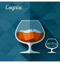 with glass cognac in flat design style vector image