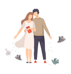 Young couple walking along park and feeding vector