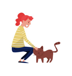 young woman stroking brown cat vector image