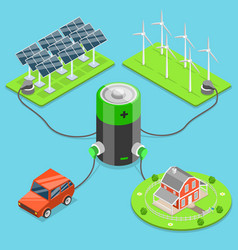 alternative green energy flat isometric vector image