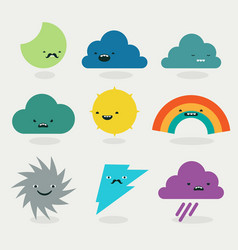 cute weather emojis characters collection vector image