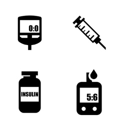 Diabetes black icon set Blood Glucose Test vector image