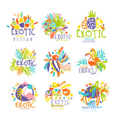 exotic tropical summer vacation set of logo vector image vector image