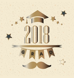 graduation class of year 2018 in gold vector image vector image