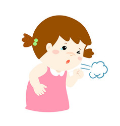 little girl coughing cartoon vector image vector image