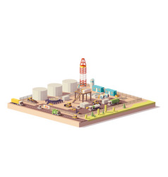 low poly land oil and gas drilling rig vector image vector image