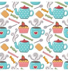 Tea time cute seamless pattern vector image