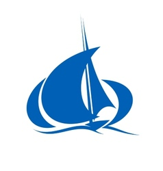 Yacht sailing the ocean waves vector image