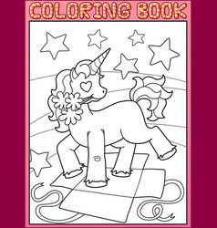 coloring book page little unicorn birthday party vector image