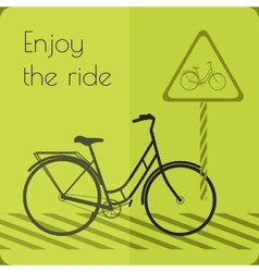 Gray shape bicycle on the road with road sign vector