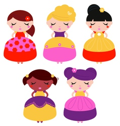 Little colorful princes set isolated on white vector image vector image