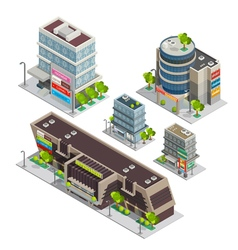 Shopping Center Buildings Complex Isometric vector image