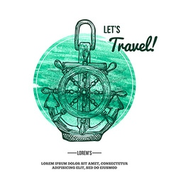 Travel Background Anchor on Watercolor mark vector image vector image