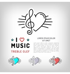 treble clef icon Musical note and heart vector image vector image
