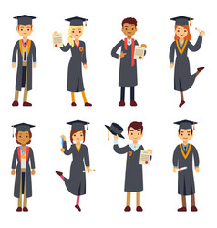 young college graduate and university students vector image