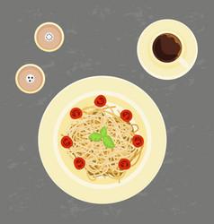 delicious pasta and coffee vector image vector image