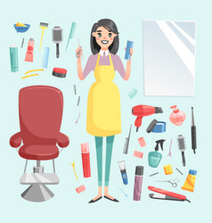 girl hairdresser with hair clipper and hair vector image