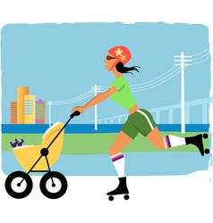 Running with a stroller vector image vector image
