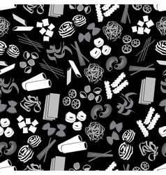 types of pasta food black and gray pattern eps10 vector image vector image