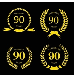 80 ninety years icon template for celebration vector