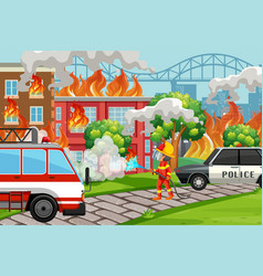 a firefighter helping service vector image