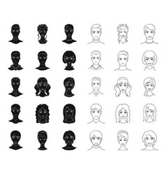 avatar and face blackoutline icons in set vector image