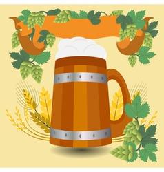 Barrel mug with wheat and hops vector image