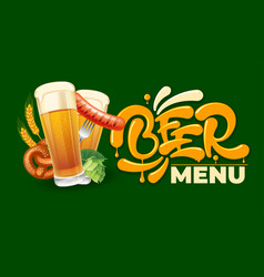 beer menu emblem vector image