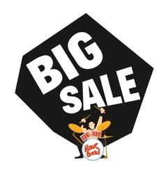 Big sale banner with rock drummer vector