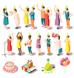birthday party isometric icons set vector image