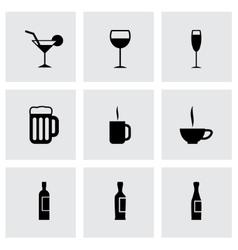 black beverages icon set vector image