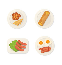 breakfast fresh food top view breakfast meal vector image