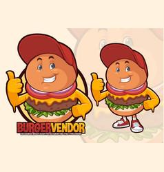 Burger mascot design for street food vendor vector
