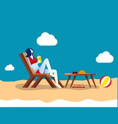 Businesswoman at ocean beach concept business vector